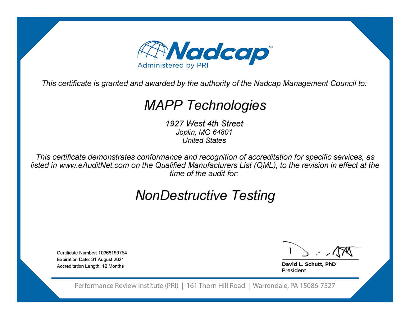 MAPP NonDestructive Testing Certificate