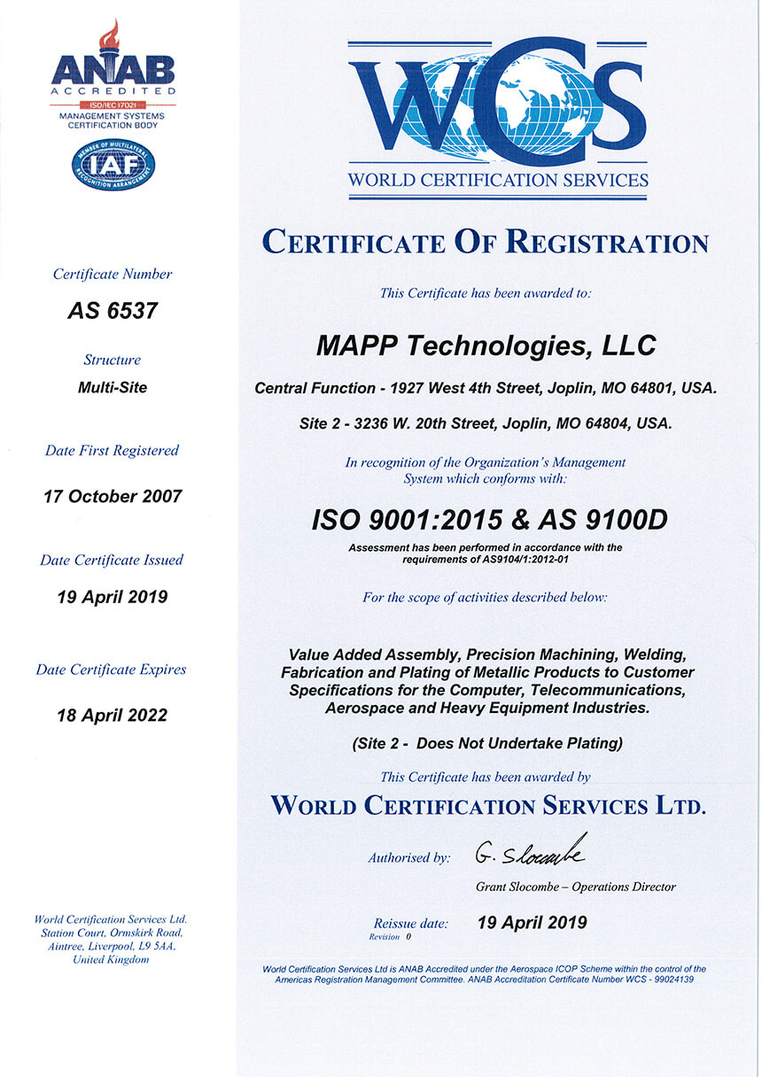 MAPP Certificate of Registration